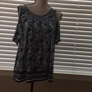 Navy and white print blouse